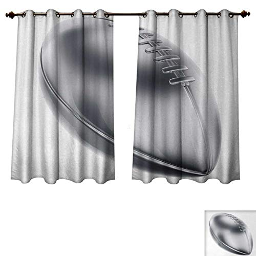 Anzhouqux Silver Bedroom Thermal Blackout Curtains Realistic American Football in 3D Style Sports Theme Champion Victory Trophy Drapes for Living Room Gray Silver White W55 x L45 inch]()