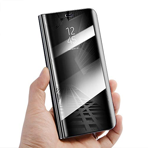Silver Magnetic PU Leather Flip Case Amocase Smart Clear View Case with 2 in 1 Stylus for iPhone Xs Max 6.5 inch,Ultra Slim Electroplate Plating Stand Mirror Full Body Shockproof PC
