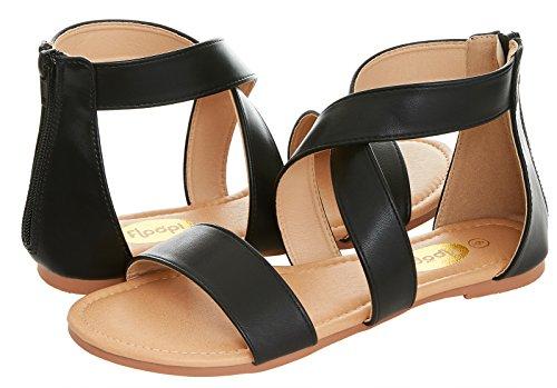 Back Strap Sandal - Floopi Womens Summer Criss Cross Gladiator Ankle Strap Flat Sandal W/Back Zipper (6, Black-504)