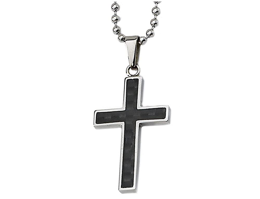 4845615ecf Gem And Harmony Mens Chisel Black Carbon Fiber Cross Pendant Necklace in  Stainless Steel with Chain | Amazon.com