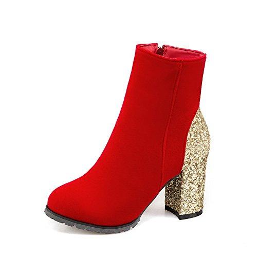 BalaMasa Womens Fashion Dress Slip-Resistant Solid Urethane Boots ABL10112 Red