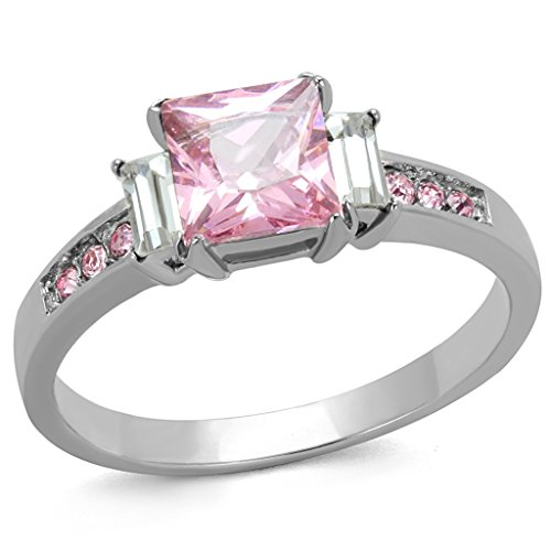 Cut Illusion Rose (Womens Stainless Steel Rose Pink Princess Cut Cubic Zirconia Stone Ring with Side Stones)