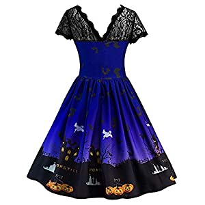 Tosonse Halloween Dresses for Women Lace Short Sleeve Vintage A Line Dress Pumpkin Swing Dress