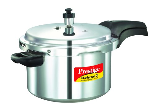 Prestige Deluxe Plus Induction Base Aluminium Pressure Cooker, 5 Litres