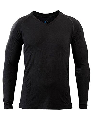 SleepShirt AVIOR │ Herren Schlaf-Shirt │ LANGARM Oberteil │ Seamless - ohne störende Nähte │ dreimal weicher als Baumwolle │ Thermoregulierende und atmungsaktive Funktions-Nachtwäsche (Schwarz, XL)