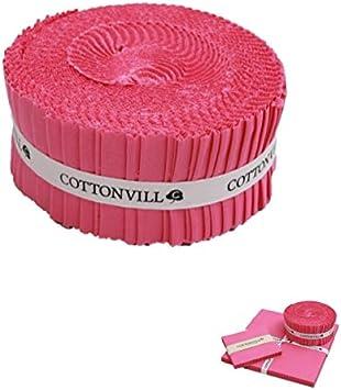 5 Charm Squares COTTONVILL Cotton Solid Precut Quilting Fabric Bundle 42 pcs Azalea Pink