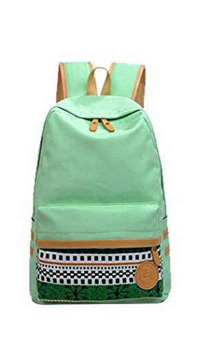 HONEYJOY Casual Style Lightweight Canvas Backpack School Bag Travel Daypack (OneSize, LightGreen) (Target Classic Zip Tote)