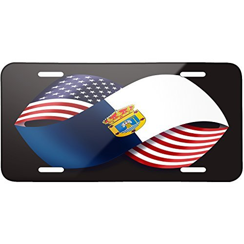 Friendship Flags USA and La Palma region Spain Metal License Plate 6X12 Inch by Saniwa