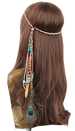 (Fascinator Headband Bohemian Tassels Feather Braided Hair Band for Women Girls)