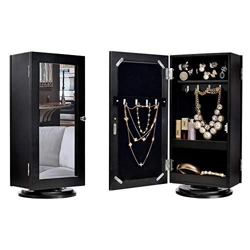 - DELMANGO Desktop Jewelry Storage Cabinet Table with Mirror,Rotatable Makeup Cabinet in Top,Double Door Sided Countertop Cabinet,Black
