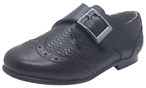 Marty Shoes (Venettini Boy's Marty Black Leather Basket Weave with Penguin Toe Single Hook and Loop Strap Oxford Loafer 31 M EU/ 13 M US Little Kid)