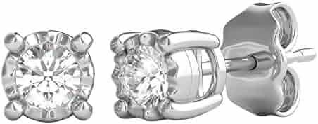 Helzberg Diamonds Sterling Silver 1/4 cttw Round Brilliant-Cut Diamond (I-J Color, I3 Clarity) Illusion Stud Earrings