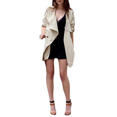 Women Irregular Jacket Among Autumn Spring Solid Color Cardigan Coat Long Sleeve Casual Top Outwear (L, Khaki)