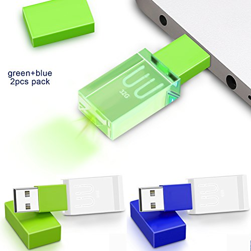 Crystal USB Flash Drive Waterpoof Flash Disk Thumb Drive high Speed led Light Special USB Memory Stick 32G UU (Blue+Green 2 Pack)