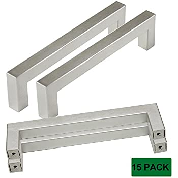 """Probrico Cabinet Handles Stainless Steel Square Kitchen Cupboard Handles And Pulls Brushed Nickel Hole Distance 5"""" Overall Length 5-1/2"""" Pack of 15"""