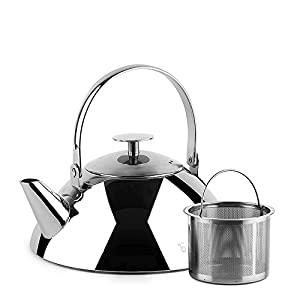 Teabox Pyramid Stainless Steel Tea Kettle with Infuser (Medium, Stovetop Tea Kettle, Capsulated Base, 34 fl oz) 1pc
