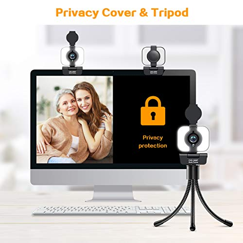 Auto-Focus Streaming 1080P Webcam with Microphone - 2021 Full HD USB Webcam, Adjustable Light, Privacy Cover, Tripod,Plug and Play for PC Video Conferencing/Calling/Gaming, Skype/YouTube/Zoom/Facetime