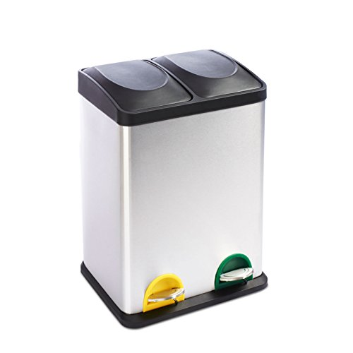 Pedal Proof Fingerprint Bin (casa pura 36 Litre Stainless Steel Recycling Pedal Bin, Brandon | 2 x 18L Compartments for Easy Waste Seperation | Fingerprint Proof Rubbish Bin)