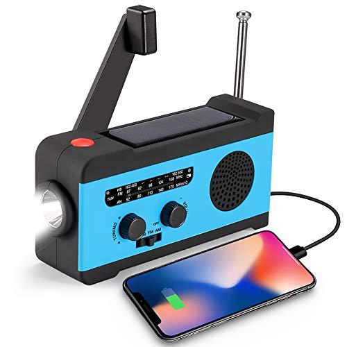 CrazyFire Solar Hand Crank NOAA Weather Radio, Emergency Radio with LED Flashlight and 2000mAh Portable Smart Phone Charger (Best Hand Crank Generator)