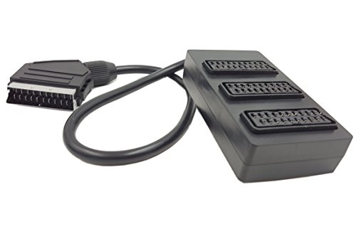 SinLoon 21 PIN 3 Way Trailing SCART Socket BOX - 1 Male to 3 Female Expansion Cable- Three Gang SCART Splitter