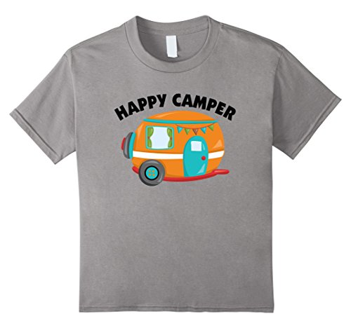 Kids Happy Camper T-Shirt Funny Camping Shirt Outdoors Tee 8 Slate (Men Looking For Plus Size Women)