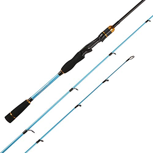 LurEra Bass Fishing Spinning Rod 24 Ton Carbon Inshore Trout Spin Fishing Rod 2 Pieces Portable 7' Medium Light Action Fishing Pole for All Species in Freshwater(Blue)
