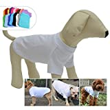 lovelonglong 2019 Pet Clothing Costumes Puppy Dog Clothes Blank T-Shirt Tee Shirts for Large Medium Small Dogs 100% Cotton White XL
