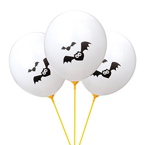 Halloween Balloons, 100pcs 12 Inches Ultra Thickness Bat Latex Balloons for Happy Halloween's Day, Holiday Season Party Decoration (Happy Halloween Bats)