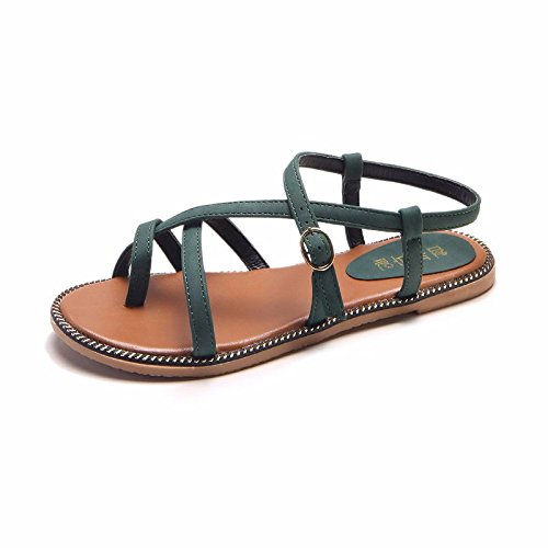 cross sleek sandals XIAOGEGE flat resort tether footwear The shoes and with student versatile green Flat beach a girls the fine strap ZZfBnpt