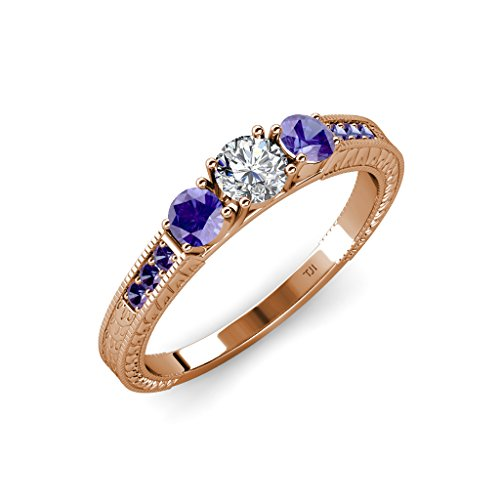 Diamond and Iolite 3 Stone Ring with Iolite on Side Bar 0.84 ct tw 14K Rose Gold.size 9.0