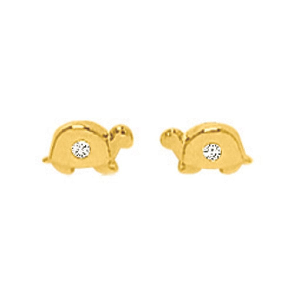 So Chic Jewels - 18k Yellow Gold - Cubic Zirconia Turtle Stud Earrings