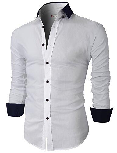 H2h Mens Non Iron Slim Fit Solid Spread Collar Dress Shirt White Us 3Xl Asia Xxxxxl  Kmtstl0415
