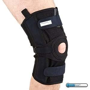PhysioRoom Elite malla con bisagras de la rodilla fuerte, esguince del ligamento, apoyo de la rodilla, cómodo, correas ajustables, soporte adicional, estabilización, alivio del dolor, ayuda de lesiones, entrenamiento de rehabilitación