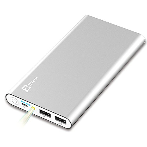 JETech 10,000mAh Portable External Power Bank, Battery Charger, 2-Output (Silver)