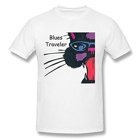 Hsuail Men's Blues Traveler Cat Cover T-Shirt White US Size M (Traveler Guitar Custom)