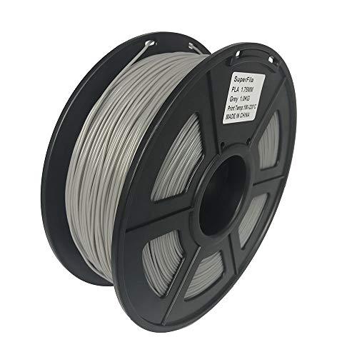 Superfila PLA 3D Printer Filament for Ender 3/Ender 3 Pro, Dimensional Accuracy +/- 0.03 mm, 1 kg Spool, 1.75 mm, Grey