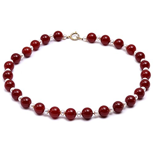 - JYX Agate Necklace 14.5mm Round Red Agate and White Freshwater Pearl Necklace 23
