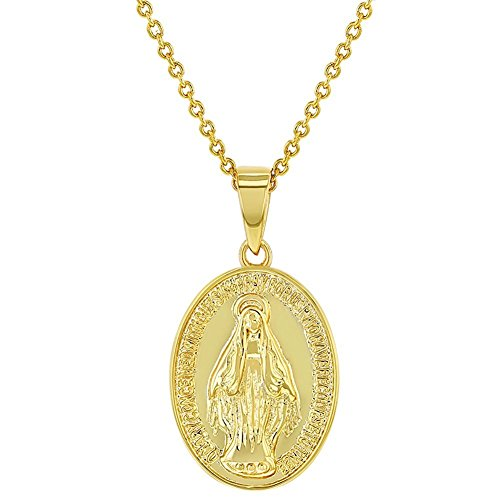 In Season Jewelry 18k Gold Plated Little Oval Miraculous Virgin Mary Medal Necklace Pendant 19