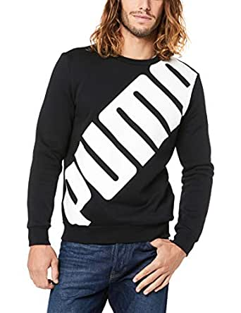 PUMA Men's Big Logo Crew, Cotton Black, S