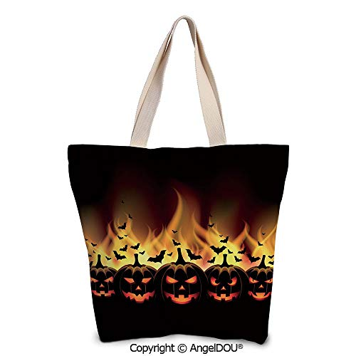 SCOXIXI Vintage Halloween printed Tote Schoolgirl Bag Ladies Shopper Canvas Bag]()