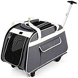 Pet Carrier Trolley with Telescopic Handle, Portable Large Dog/Cat Travel Tote Bag with Wheels, 66cm x 37cm x 36cm