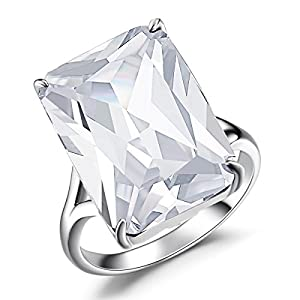 Caperci Sterling Silver Emerald Cut Large Big Stone White Cubic Zirconia Solitaire Ring
