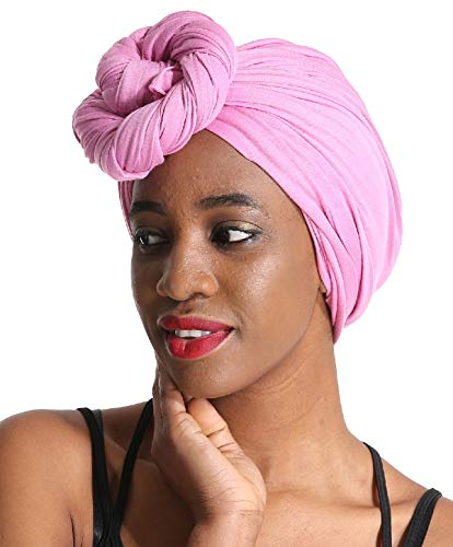 (Women Head Wrap Scarf - Pink Satin Silk Hair Wrap,Stretch Jersey Knit Black African Long Turbans Hat Hijab,Hair Ties,Hair Muslim Bohemian Boho Headband)