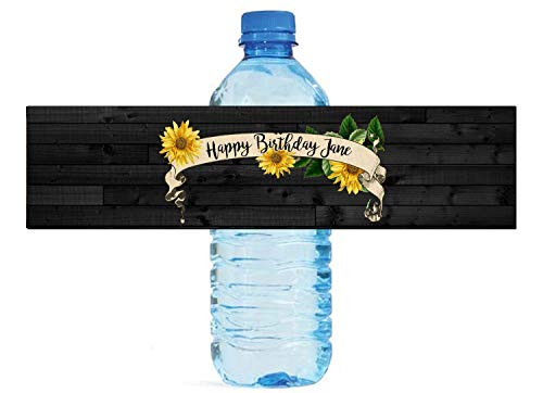 Sunflower Banner on Dark Wood Themed Water Bottle Labels, Great for Weddings, Birthday Parties, Engagement Party, Birthday Parties]()