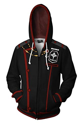 Cosmovie Men's Allen Walker Anime Hoodie 3D Printed Zip Up Jackets Coat Black]()