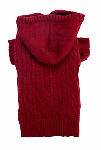 Burgundy Red Christmas Dog Classic Cable Pet Sweater Hoodie for Dogs, XXX-Large (XXXL) Size 26