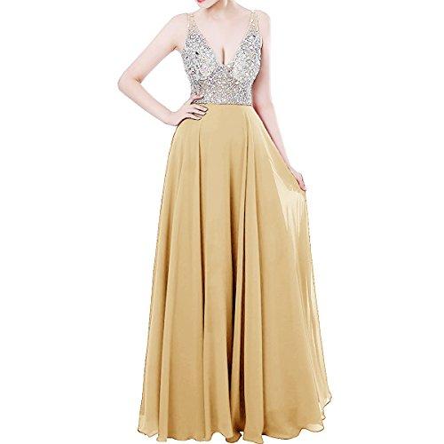 Abendkleider für Gold Lang Damen Brautjungfernkleider Rückenfrei Ballkleid Hochzeit LuckyShe Strasssteine Yn1xRYz