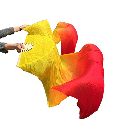 Nimiman Cheap Women Belly Dance Fan Veils 18090cm Yellow Orange Red by Nimiman