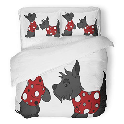 SanChic Duvet Cover Set Red Scottish Black Scottie Dogs Adorable Animal Breed Decorative Bedding Set with 2 Pillow Shams Full/Queen Size by SanChic