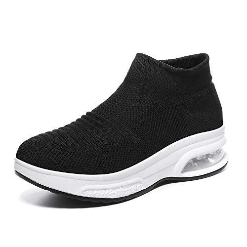Women's Slip on Walking Shoes - Mesh Breathable Air Cushion Work Nursing Shoes Easy Casual Sneakers Black